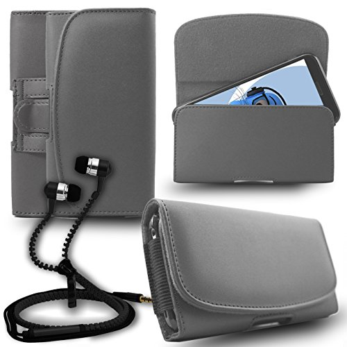 iTALKonline Samsung Galaxy A5 SM-A500G/DS Grey PREMIUM PU Leather Horizontal Executive Side Pouch Case Cover Holster with Belt Loop Clip and Magnetic Closure Includes Grey Premium 3.5mm Aluminium High Quality In Ear Stereo Wired Headset Hands Free Headphones with Built in Mic Microphone and On Off Button  available at amazon for Rs.565