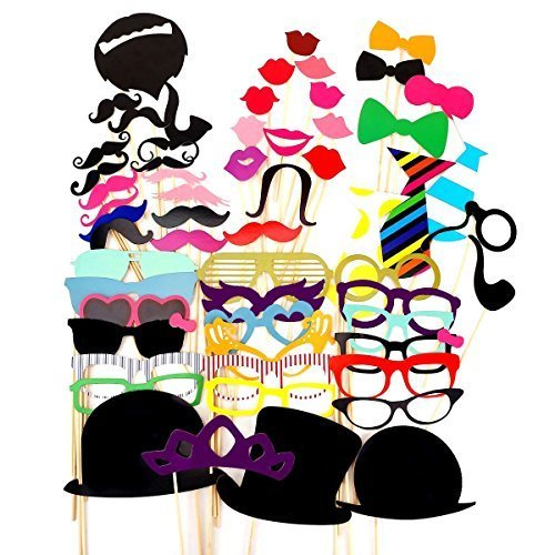 A Set of 58pcs DIY Funny Colorful Glasses Moustache Red Lips Bow Tie Hats On Sticks Wedding Birthday Party Photo Booth Props