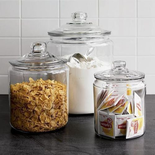 Anchor Hocking Heritage Hill Clear Glass Cookie Jar Set in 3 Sizes. (Heritage Hill Glass Jar 2 Gallon compare prices)