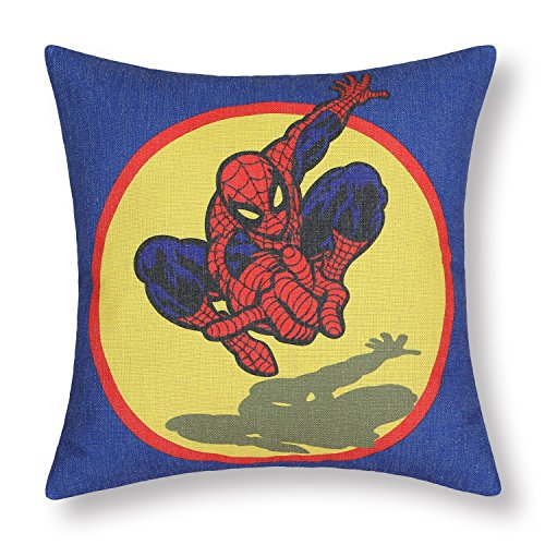 "Euphoria Home Decorative Cushion Covers Pillows Shell Cotton Linen Blend Superheroes Spider-Man Print 18"" X 18"" front-701150"