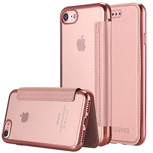 iPhone 7 Case, LONTECT Ultra Slim PU Leather Folio Flip Case with Card Slot & Clear Soft TPU Back Cover for Apple iPhone 7 - Rose Gold