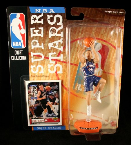 KEITH VAN HORN / NEW JERSEY NETS * 98/99 Season * NBA SUPER STARS Super Detailed Figure, Display Base & Exclusive Upper Deck Collector Trading Card