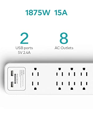 Xcentz Surge Protector Power Strip, 8 Outlets & 2 Smart USB Ports, 6ft Heavy Duty Extension Cord, 2390 Joules with Lightning & Overload Protection, USB Charging for iPhone, Samsung Galaxy & Tablets (Color: White)