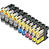 10 Pack Compatible LC101 , LC103 4 Black, 2 Cyan, 2 Magenta, 2 Yellow for use with Brother DCP-J152W, MFC-J245, MFC-J285DW, MFC-J4310DW, MFC-J4410DW, MFC-J450DW, MFC-J4510DW, MFC-J4610DW, MFC-J470DW, MFC-J4710DW, MFC-J475DW, MFC-J650DW, MFC-J6520DW, MFC-J6720DW, MFC-J6920DW, MFC-J870DW, MFC-J875DW. Ink Cartridges for inkjet printers. LC101BK , LC101C , LC101M , LC101Y , LC103BK , LC103C , LC103M , LC103Y © Blake Printing Supply