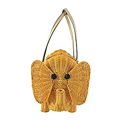 Kate Spade Strut your Stuff Wicker Elephant Bag Natural