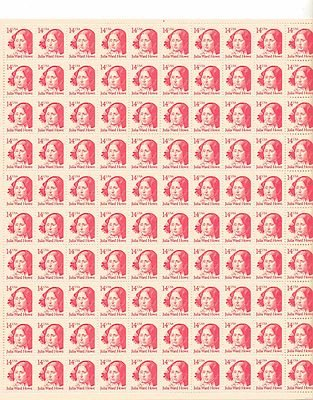 Julia Ward Howe Sheet of 100 x 14 Cent US Postage Stamps NEW Scot 2176