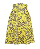 Image of Modeway Retro 1950s Vintage Fall Pleated Swing Skirts(Yellow+Flower,XXL)J4-5