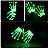 Led Dancing Skeleton Gloves, Hand Flashing Light Shows Halloween Costume, Novelty Christmas Gift (Green)