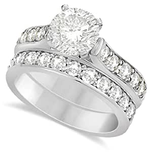 Amazon.com: Moissanite Engagement Ring and Wedding Band