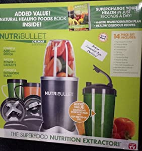Nutri Bullet 15 Piece Blender - With The Green Smoothie Bible Book (300 Delicious Recipes), And Smoothie Making Tips. Also Includes The Nutribullet Natural Healing Foods Book (Supercharge Your Health in Just Seconds a Day) & Bonus Flip Top To-Go Oversize