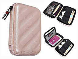 BUBM Electronics Accessories Organizer Travel Carrying Case Digital Storage Bag EVA Series for Various Cables,Cards(LCP,Gold)
