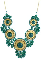 "ZAD 26"" Green Bead Medallion Bib Necklace"