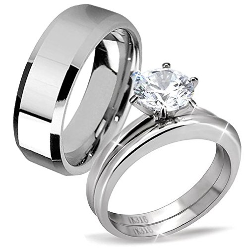 His & Hers Classic 3 Pcs Men Tungsten Band Women Round Cut Stainless Steel Wedding Engagement Ring Set