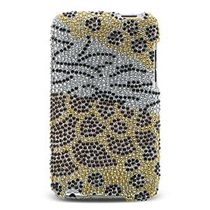 Premium Luxurious Designer Hard Crystal Diamond Snap-on Case for Apple iPod Touch 2, 8GB, 32GB, 64GB - Safari Gold Zebra, Leopard, Tiger Mixed Diamond Print