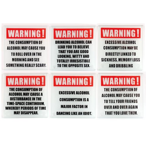 Kikkerland Design Alcohol Warning Coasters Set Of 6