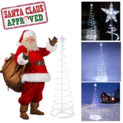 GC Global Direct 6ft/5ft Clear LED Lighted Spiral Christmas Tree Color Option (6ft, Cool White LED)