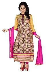 JHEENU Yellow Women's Cotton unstitched Straight Salwar Suit dress material
