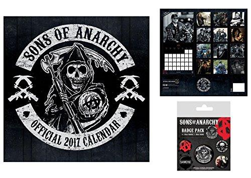 Set: Sons Of Anarchy, Calendario Ufficiale 2017 (30x30 cm) E 1x Set Di Badge (15x10 cm)