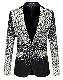 Swift Men's Stylish Fashion Printed Trim Fitted Slim Chic Blazer Suit Jacket