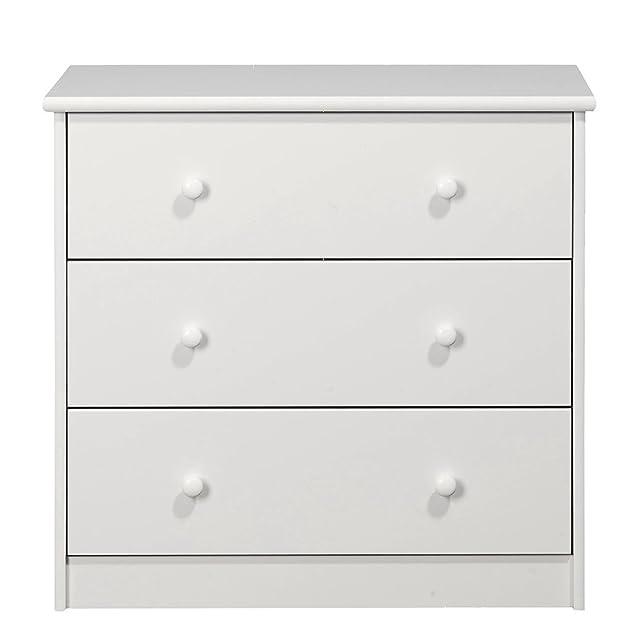 NJA Furniture - Comò con 3 cassetti della linea Kids World, 73 x 75 x 39 cm, bambino, colore: Bianco
