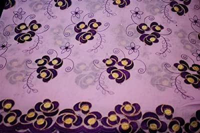 Lavender,voile Lace Fabric, African Design, Embroidery Poly Cotton Textile, in 11 Colors