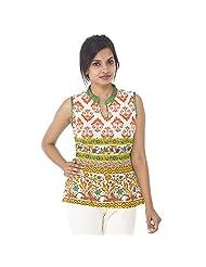 Parinita Women Orange Cotton Printed Short Top