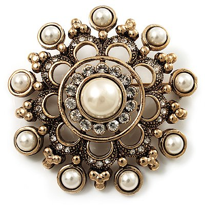 Antique Gold Filigree Pearl Corsage Brooch