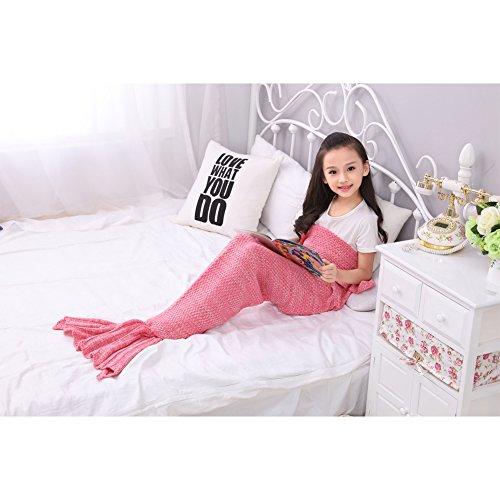SkySea Sirena Coperta Tutte le Stagioni Sirena Maglia Coda Coperta Accogliente Letto Divano Borsa Coccole Coperta Grande Dono per I Bambini 56 * 28 Pollici (Rosa)