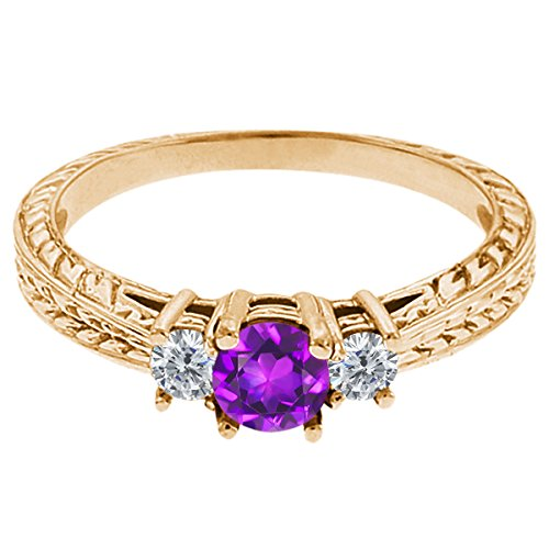 0.60 Ct Round Purple Amethyst G/H Diamond 14K Yellow Gold 3-Stone Ring