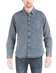 Shuffle Men's Casual Shirt (8907423058859_2021537502_X-Large_Blue)