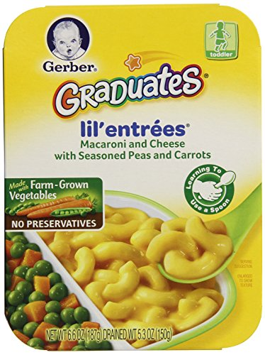 Gerber Graduates Lil' Entrees Macaroni & Cheese with Seasoned Peas & Carrots, 6.6-Ounce (Pack of 8) (Lil Graduates Entrees compare prices)