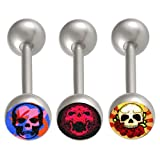 3Pcs 14g 14 gauge 1.6mm 14mm steel tongue rings straight barbell ball piercing bars tounge Logo Body Jewellery JBUG