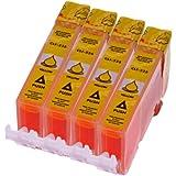 Druckerpatronen für Canon CLI 526 Y , CLI526 Gelb mit Chip kompatibel (4 Stück)