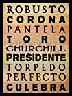 CIGAR SIZES Vintage Style Pinup Tobacco Poster Art Print - Toro, Churchill, Corona, etc. - measures 24 high x 18 wide (610mm high x 458mm wide)