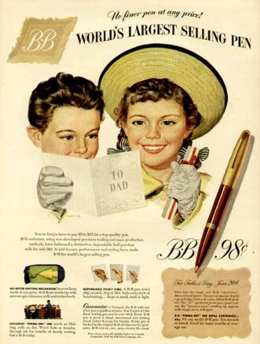 "1948 Father'S Day Ad For ""B-B"" Ball-Point Pens For Dad Original Paper Ephemera Authentic Vintage Print Magazine Ad / Article"