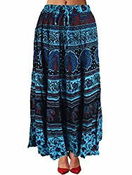 Shopatplaces Skirt With Block Print In Denim Blue From Jaipur