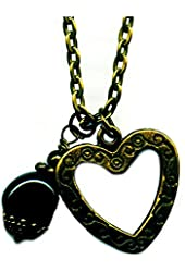 Antiqued Bronze Small Green Bloodstone Gemstone and Floating Heart Pendant Handmade 18 Inches Bs127