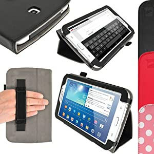 """iGadgitz Premium Folio Black PU Leather Case Cover for Samsung Galaxy Tab 3 7.0"""" SM-T210 with Multi-Angle Viewing Stand + Hand Strap + Screen Protector"""