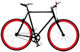 Retrospec Fixie Beta Series El Diablo Fixed Gear Single Speed Urban Road Bike (Black/Red, Large)