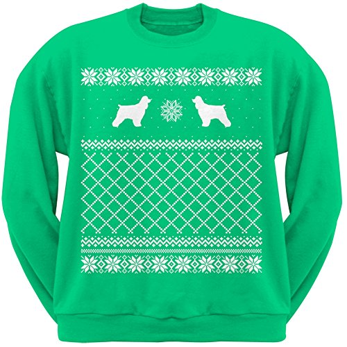 Cocker Spaniel Green Adult Ugly Christmas Sweater Crew Neck Sweatshirt - Small
