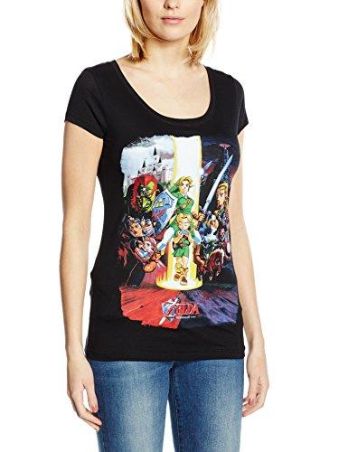 Legend of Zelda Nintendo Legend Of Zelda Women's Ocarina Of Time Cast Print T-shirt-T-shirt  Donna    nero Medium