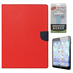 Mercury Textured Wallet Diary Case for Apple iPad 2/3/4 (Red) + 2200 mAh PowerBank + Matte Screen