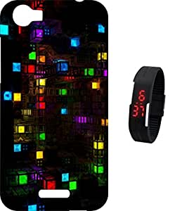 BKDT Marketing Printed Back Cover for Micromax Canvas 5 E481 with Digital Watch