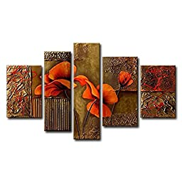 FLY SPRAY 5-Piece 100% Hand-Painted Oil Paintings Stretched Framed Ready Hang Yellow Elegant Beautiful Orange Flowers Buds Modern Abstract Canvas Living Room Bedroom Office Wall Art Home Decoration