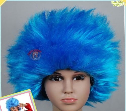 BLISS PRO's Thing 1 Thing 2 ADULT SIZED Dr. Suess Suss Sues Wig Aqua STRAIGHT Wig