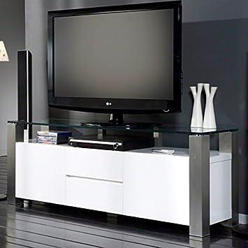Sales fever TV con un peso de 2 cajones y cristal blanco brillante patas de acero inoxidable Dakuri
