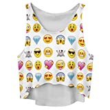 reine à la mode- Femme Emoji Imprimeé Debardeur sans Manches (taille normale XS-M, MDX025)...