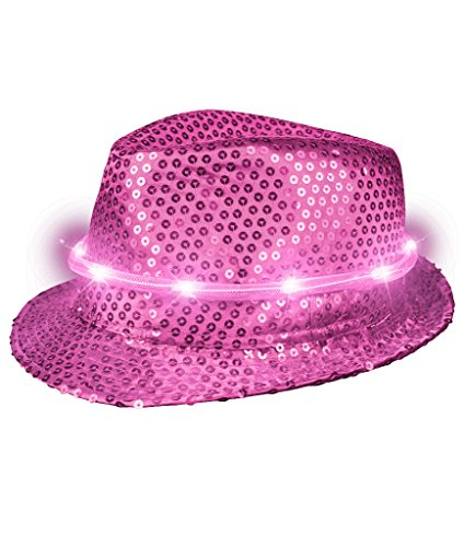 Fun Central T480 LED Flashing Fedora Hat with Sequins - Hot Pink