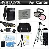 Must Have Accessory Kit For Canon VIXIA HF R21, HF R20, HF R200 Full HD Camcorder Includes Extended (1500Mah) Replacement BP-110 Battery + Ac/Dc Travel Charger + Deluxe Case + Mini HDMI Cable + 50-inch Tripod w/Case + 3PC Filter Kit (UV-CPL-FLD) + Much More