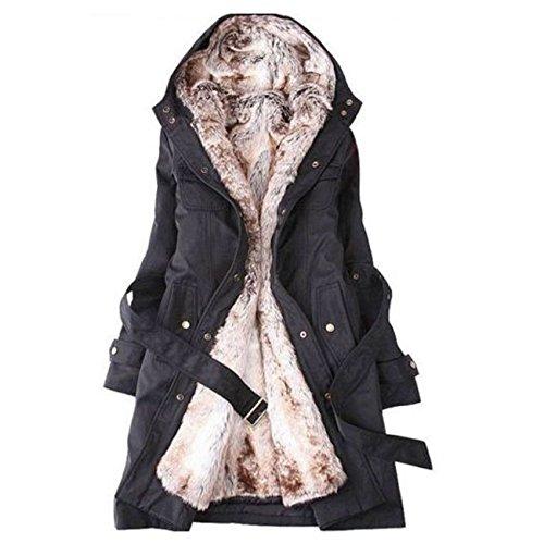 SODIAL (R) Hot Donna Cappotto D'inverno Spesso Caldo Con Cappuccio Piumino Lungo Taglia M Nero